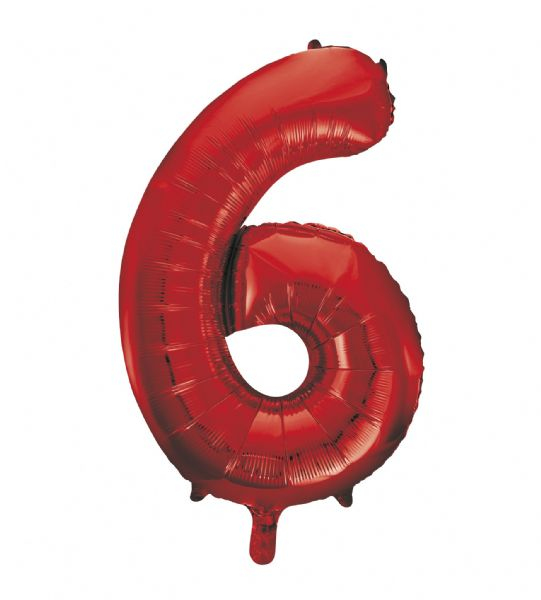 Red Number 6 Foil Balloon